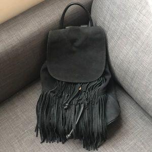 TOPSHOP Suede Fringe Backpack